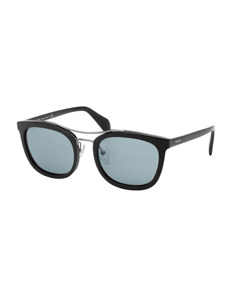 Chunky Rectangle Sunglasses, Black