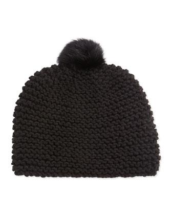 Rabbit Fur Pompom Hat, Black
