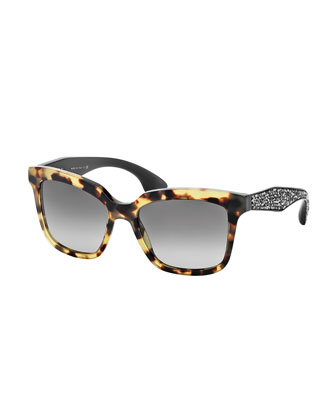 Rectangle Sunglasses with Crystal Arms, Havana