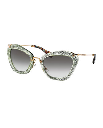 Extreme Catwalk Sunglasses, Green Glitter