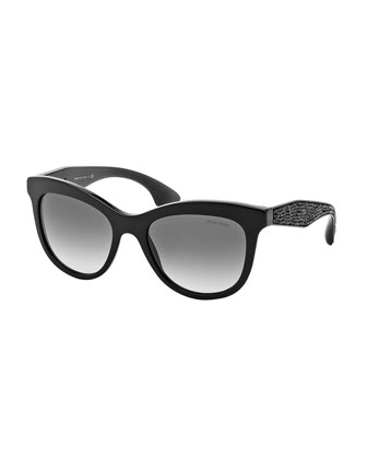 Trapezoid Sunglasses with Crystal Arms, Black