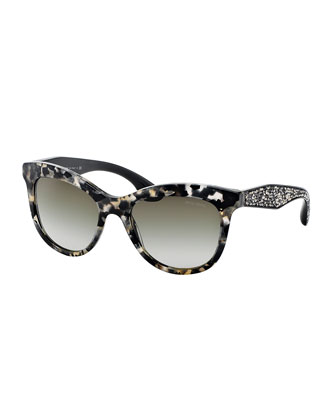 Havana Trapezoid Sunglasses, Black/White