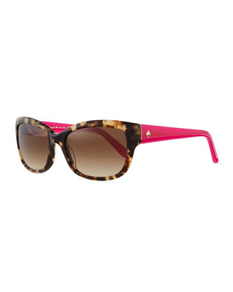 johanna rectangle sunglasses, havana/pink