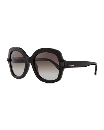 Tonal Stud Square Sunglasses, Black