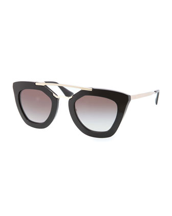 Cat-Eye Double-Bridge Sunglasses, Black