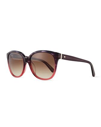 bayleigh butterfly sunglasses, rose/havana
