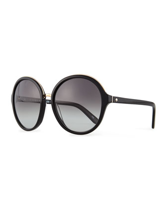 bernadette round sunglasses, black