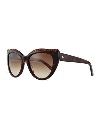 lesia cat-eye sunglasses, havana tortoise