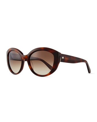 sherrie cat-eye sunglasses, havana tortoise