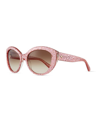 sherrie cat-eye sunglasses, pink glitter