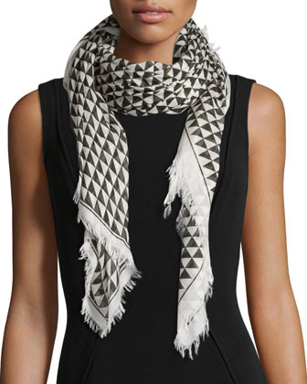Gate-Print Silk-Blend Scarf, Cream/Black