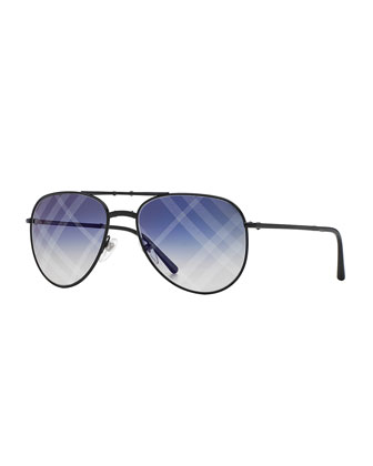 Spark Aviator Sunglasses with Mirrored Check Lens, Black