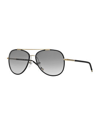 Brit Tubular Aviator Sunglasses, Black