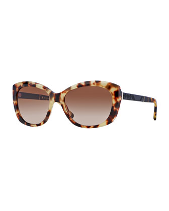 London Rectangle Sunglasses, Light Brown Havana