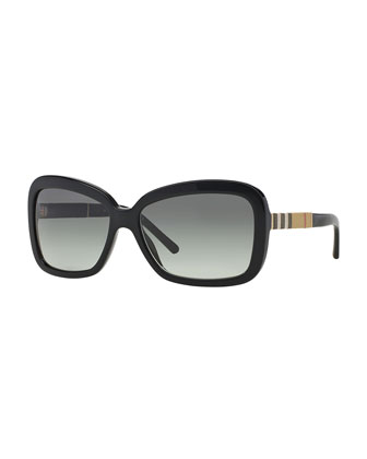 London Rectangle Sunglasses, Black