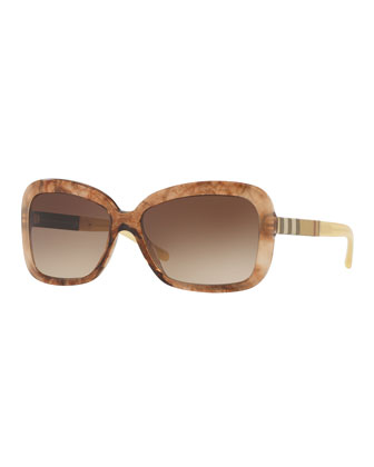 London Rectangle Sunglasses, Dark Brown Havana