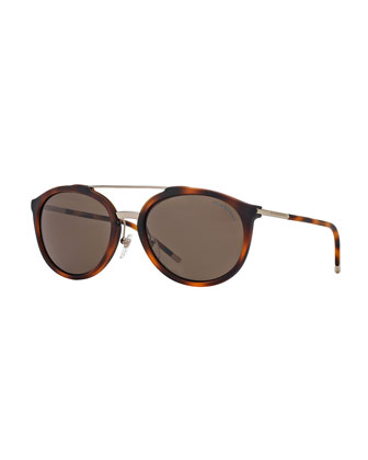Brit Tubular Aviator Sunglasses, Havana