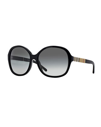 London Butterfly Sunglasses with Check, Black