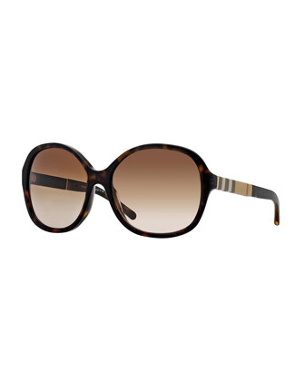London Butterfly Sunglasses with Check, Havana