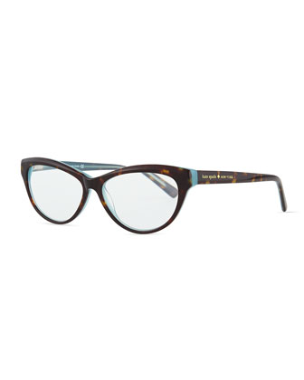 abena cat-eye reader glasses, havana/blue