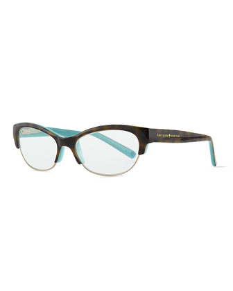 aleta cat-eye reader glasses, havana/blue