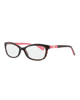 chita rectangle reader glasses, brown havana/pink