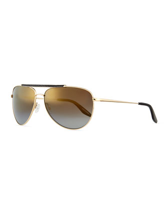 Breed Leather-Detail Mirrored Aviator Sunglasses, Golden/Nightfall