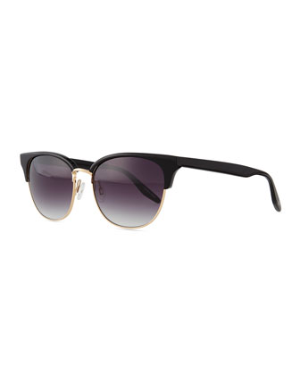 Camden Semi-Rimless Square Sunglasses, Black/Golden