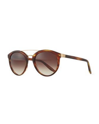 Dalziel Round Aviator Sunglasses with Metal Bar, Banyan Havana