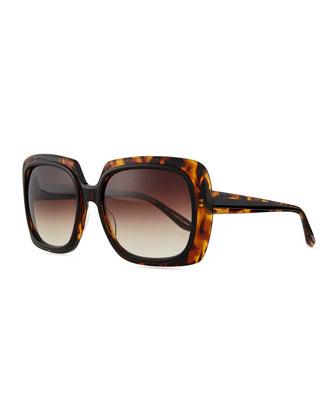 Renaissance Square Zyl Sunglasses, Black/Amber