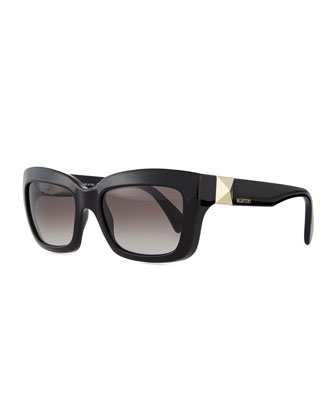 Rockstud-Temple Rectangular Sunglasses, Black