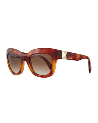 Rockstud-Temple Cat-Eye Sunglasses, Blonde Havana
