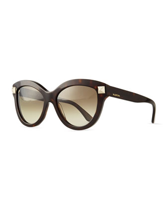 Rockstud-Front Cat-Eye Sunglasses, Havana