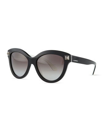 Rockstud-Front Cat-Eye Sunglasses, Black