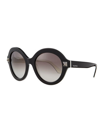 Rockstud Round Sunglasses, Black