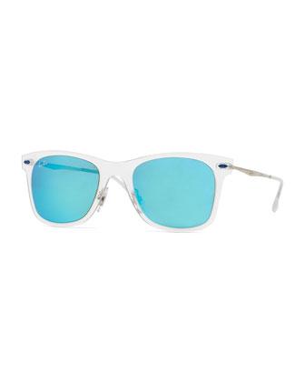 Wayfarer Mirror Matte Clear Sunglasses, Turquoise