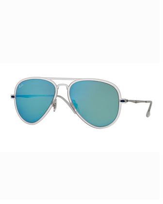 Mirror Matte Clear Aviator Sunglasses, Turquoise