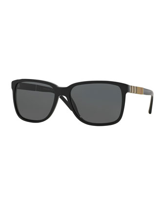 Oversize Rectangular Sunglasses with Check Detail, Black