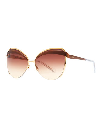 Half-Rim Cat-Eye Sunglasses, Brown