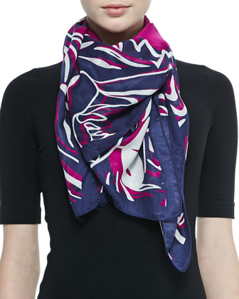 Four Tigers Printed Scarf