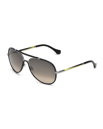 Leather-Covered Aviator Sunglasses, Black