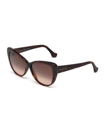 Ombre Cat-Eye Sunglasses, Havana Tortoise