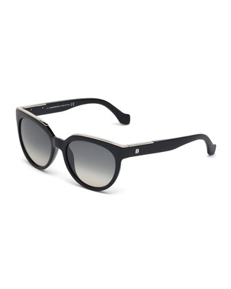 Rounded Butterfly Acetate Sunglasses, Black