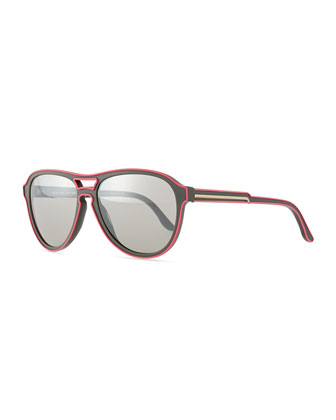 Aviator Two-Tone Sunglasses, Pink/Gray