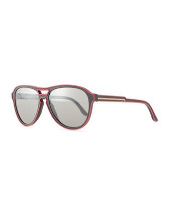 Aviator Two-Tone Sunglasses, Pink/Gray