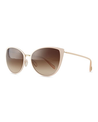 Jade Cat-Eye Sunglasses, Nude