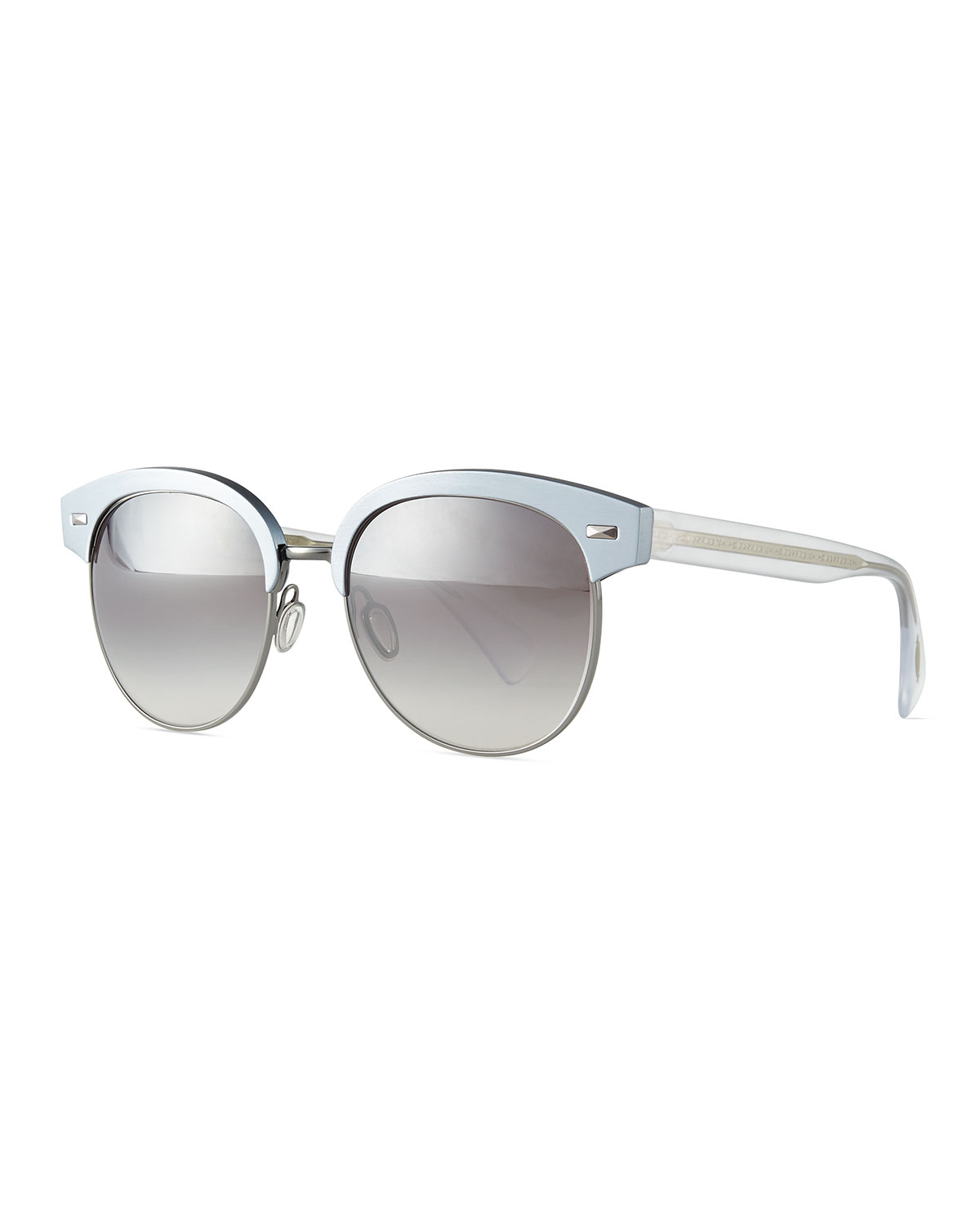 Shaelie Mirrored Semi-Rimless Sunglasses, Frost - Oliver Peoples