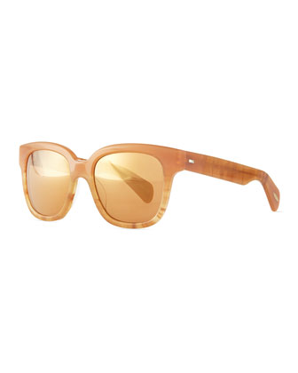 Brinley Mirror Square Sunglasses, Terra-Cotta/Peach