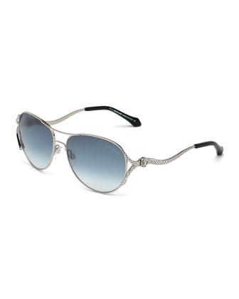 Snake-Temple Aviator Sunglasses, Palladium