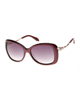Snake-Temple Butterfly Sunglasses, Wine